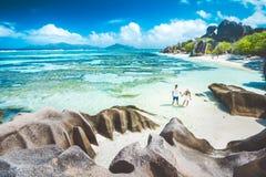 Pares em Seychelles fotos de stock royalty free