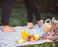 Pares embarazadas en comida campestre Fotos de archivo libres de regalías