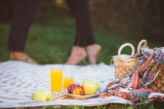 Pares embarazadas en comida campestre Foto de archivo libre de regalías