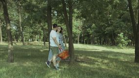 Pares embarazadas felices que van en comida campestre en parque metrajes