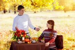Pares embarazadas jovenes hermosos que tienen comida campestre en parque del otoño Ha Imagen de archivo
