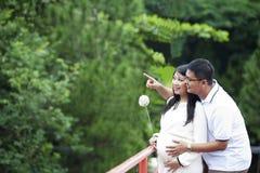 Pares embarazados felices que miran la naturaleza Imágenes de archivo libres de regalías