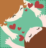 Pares en abrazo y beso del amor ilustración del vector