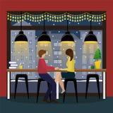 Pares en amor con champán en el contador de la barra en la ventana panorámica en el café Interior de la Navidad en el café ilustración del vector