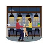 Pares en amor con champán en la barra en la ventana panorámica en el café Vuelo del pájaro - 1 libre illustration