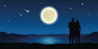 Pares en amor en el lago con la Luna Llena y las estrellas el caer libre illustration