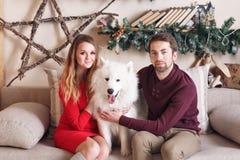 Pares en amor en un sofá gris al lado del árbol de navidad y de los presentes, jugando con el perro de Husky Eskimo de los perrit Fotografía de archivo