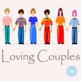 Pares en amor Gay, lesbiana y pares heterosexuales ilustración del vector