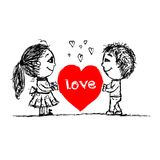 Pares en amor junto, bosquejo de la tarjeta del día de San Valentín para su Fotos de archivo
