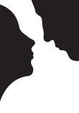 Pares en amor, silueta Imagen de archivo