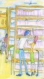Pares en biblioteca Foto de archivo libre de regalías