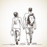 Pares en bosquejo del amor stock de ilustración