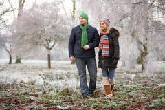 Pares en caminata del invierno con paisaje escarchado Imagenes de archivo