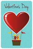 Pares en día de tarjetas del día de San Valentín del globo del aire caliente Fotografía de archivo