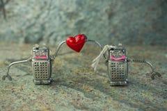 Pares en el amor de robots con un corazón Concepto del día de tarjetas del día de San Valentín del St Fotos de archivo libres de regalías