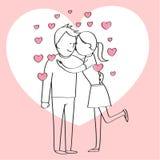 Pares en el amor, personaje de dibujos animados Imagen de archivo libre de regalías