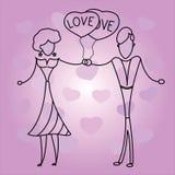 Pares en el amor que lleva a cabo corazones de los globos Imagenes de archivo
