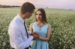 Pares en el amor que presenta en campo del verano Foto de archivo libre de regalías