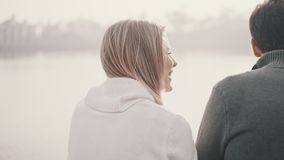 Pares en el amor que se sienta en la hierba y que abraza en un parque almacen de video