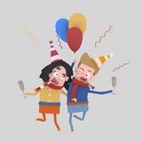 Pares en el amor que tuesta con champán 3d Imagen de archivo