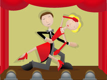 Pares en el baile de etapa Foto de archivo