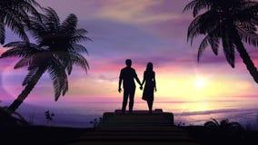 Pares en el fondo tropical de la puesta del sol ilustración del vector