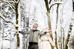 Pares en el invierno Fotografía de archivo libre de regalías