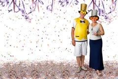 Pares en el partido del carnaval Fotos de archivo libres de regalías
