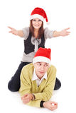 Pares en el sombrero de santa. Fotos de archivo libres de regalías