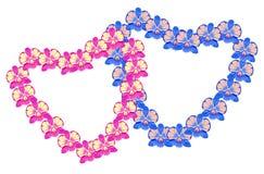 Pares en forma de corazón rosados y azules de la tarjeta de Orchidea Dendrobium Vector Foto de archivo