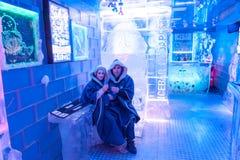 Pares en Icebar Foto de archivo