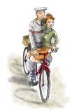 Pares en la bici Imagen de archivo libre de regalías