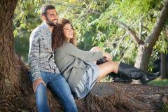 Pares en la localización del amor que se sienta en un árbol del parque Imagen de archivo libre de regalías