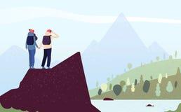 Pares en la monta?a Mujer feliz, escaladores del hombre Caminantes femeninos que se colocan en paisaje de la montaña de la mirada ilustración del vector