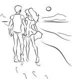 Pares en la playa stock de ilustración