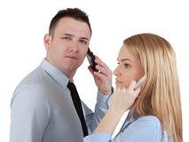 Pares en los teléfonos Foto de archivo libre de regalías