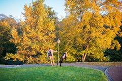 Pares en parque en el otoño Imagenes de archivo