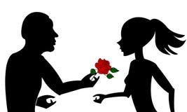 Pares en silueta del amor Fotos de archivo libres de regalías