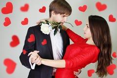 Pares en tango del baile del amor Foto de archivo