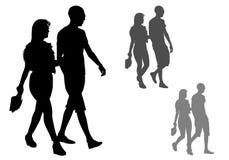 Pares en una caminata ilustración del vector