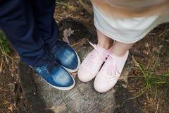 Pares engraçados bonitos do casamento que estão no coto velho na madeira imagens de stock