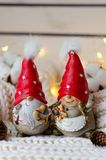 Pares engraçados de gnomos do Natal em tampões vermelhos Fotografia de Stock