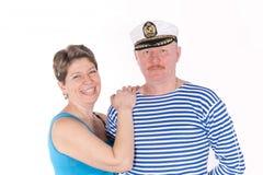 Pares envelhecidos médios que levantam como marinheiros Foto de Stock