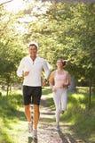 Pares envelhecidos médios que movimentam-se no parque Fotografia de Stock Royalty Free