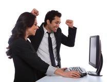 Pares Excited do negócio Imagens de Stock