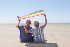 Pares fêmeas maduros que acenam uma bandeira do orgulho imagens de stock royalty free