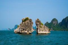 Pares famosos da rocha na baía longa do Ha, Vietname Fotografia de Stock Royalty Free