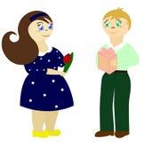 Pares felices. Él y ella. stock de ilustración