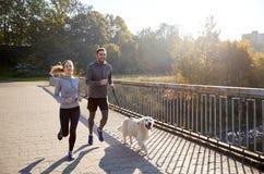 Pares felices con el perro que corre al aire libre Imágenes de archivo libres de regalías