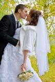 Pares felices de la boda Novia y novio Kissing en el parque Foto de archivo